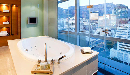 Spa with a city view close to shops at Westin hotel in Cape Town.