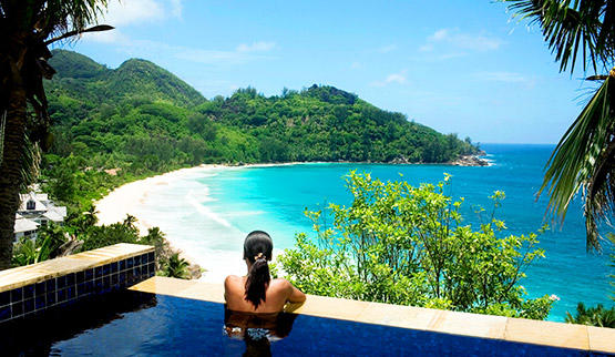 Tropical island spa getaway in Seychelles.
